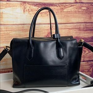 J. Crew Large Black Leather Zip Up Tote Bag
